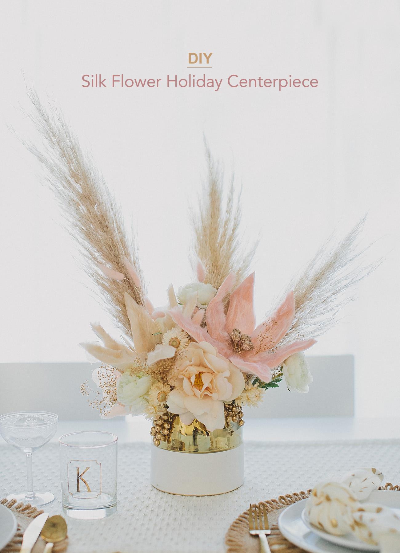 holiday silk flower centerpiece DIY