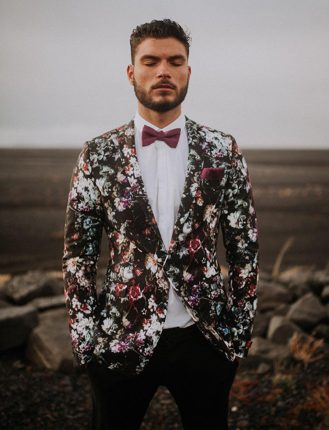 floral grooms suit