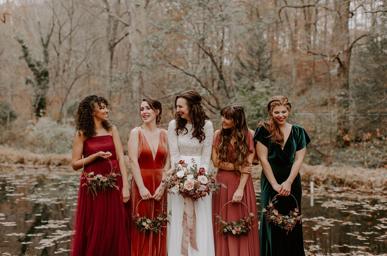 red velvet bridesmaid dresses