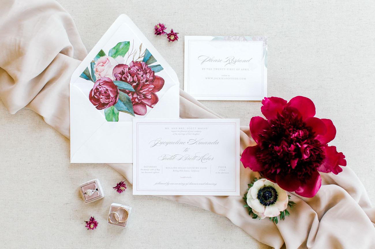 floral wedding envelope liner