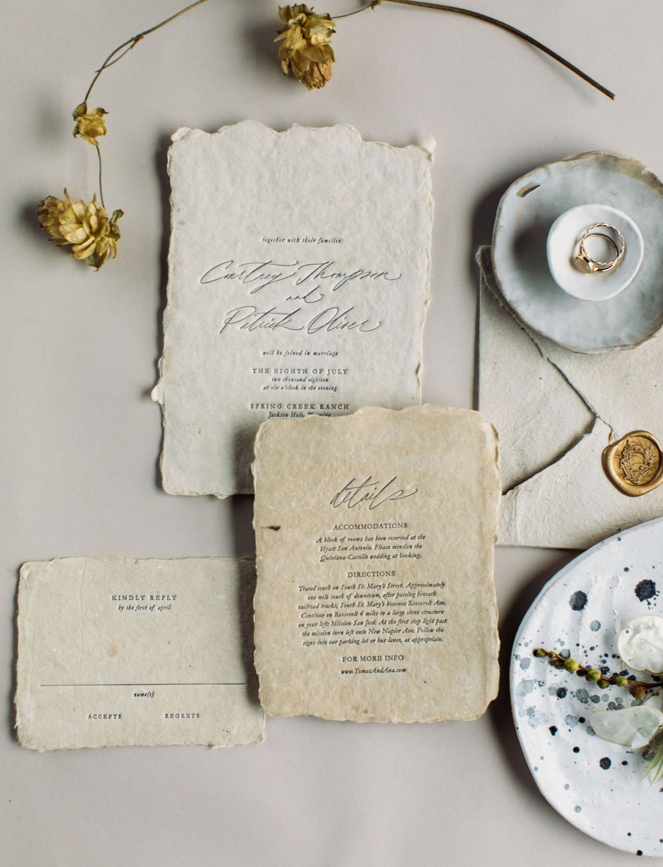 vintage torn wedding invitation suite