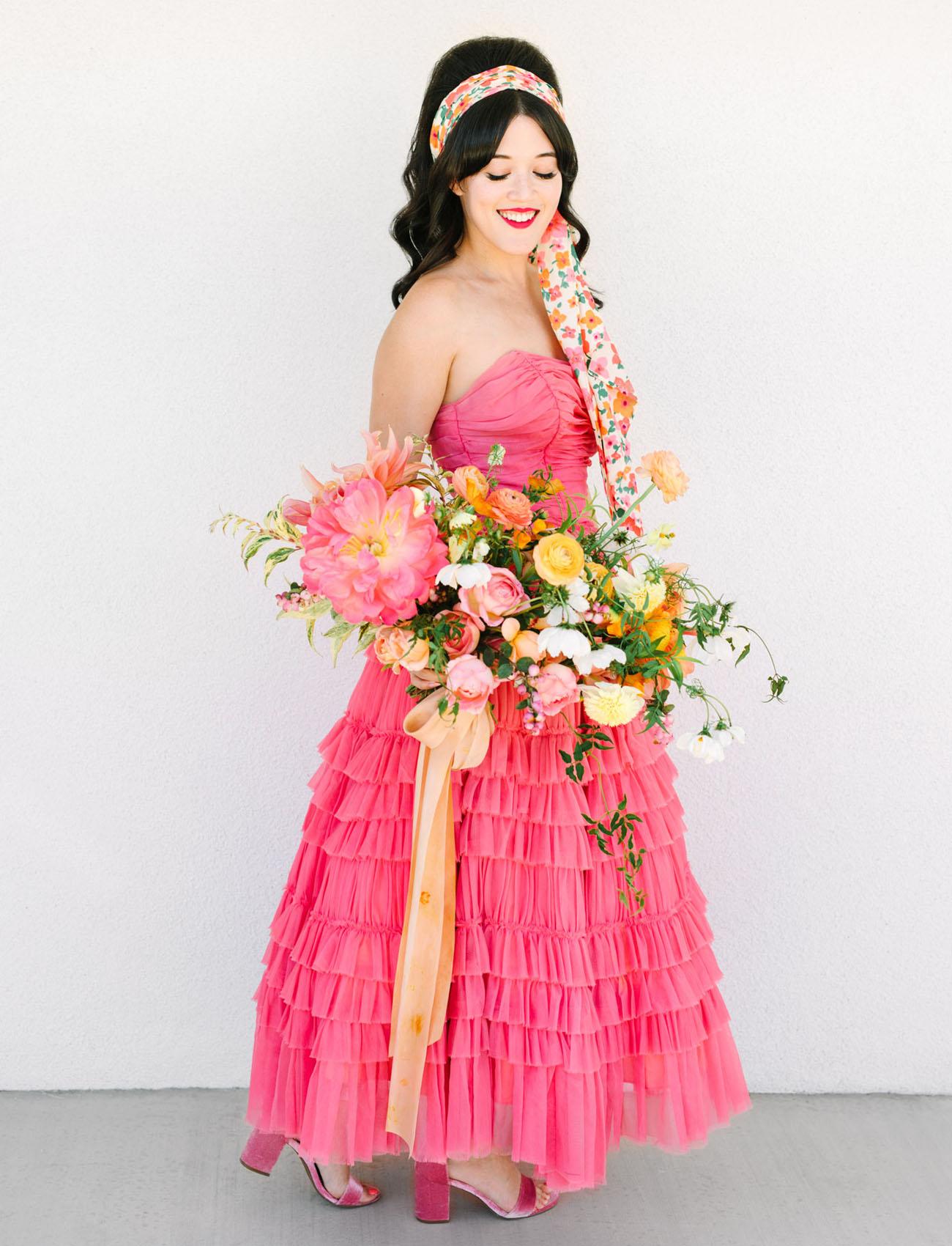 vintage pink wedding dress