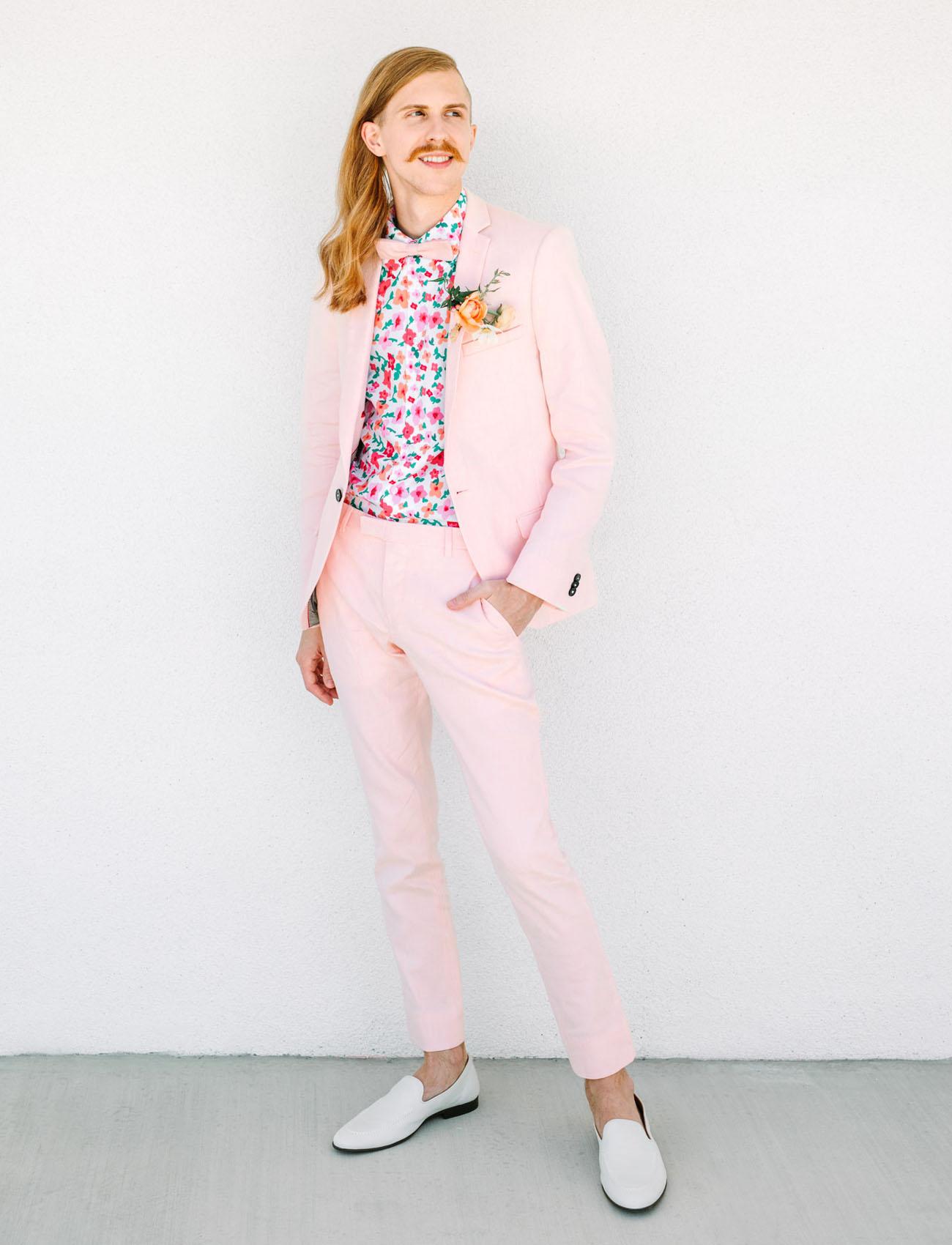 pink grooms suit