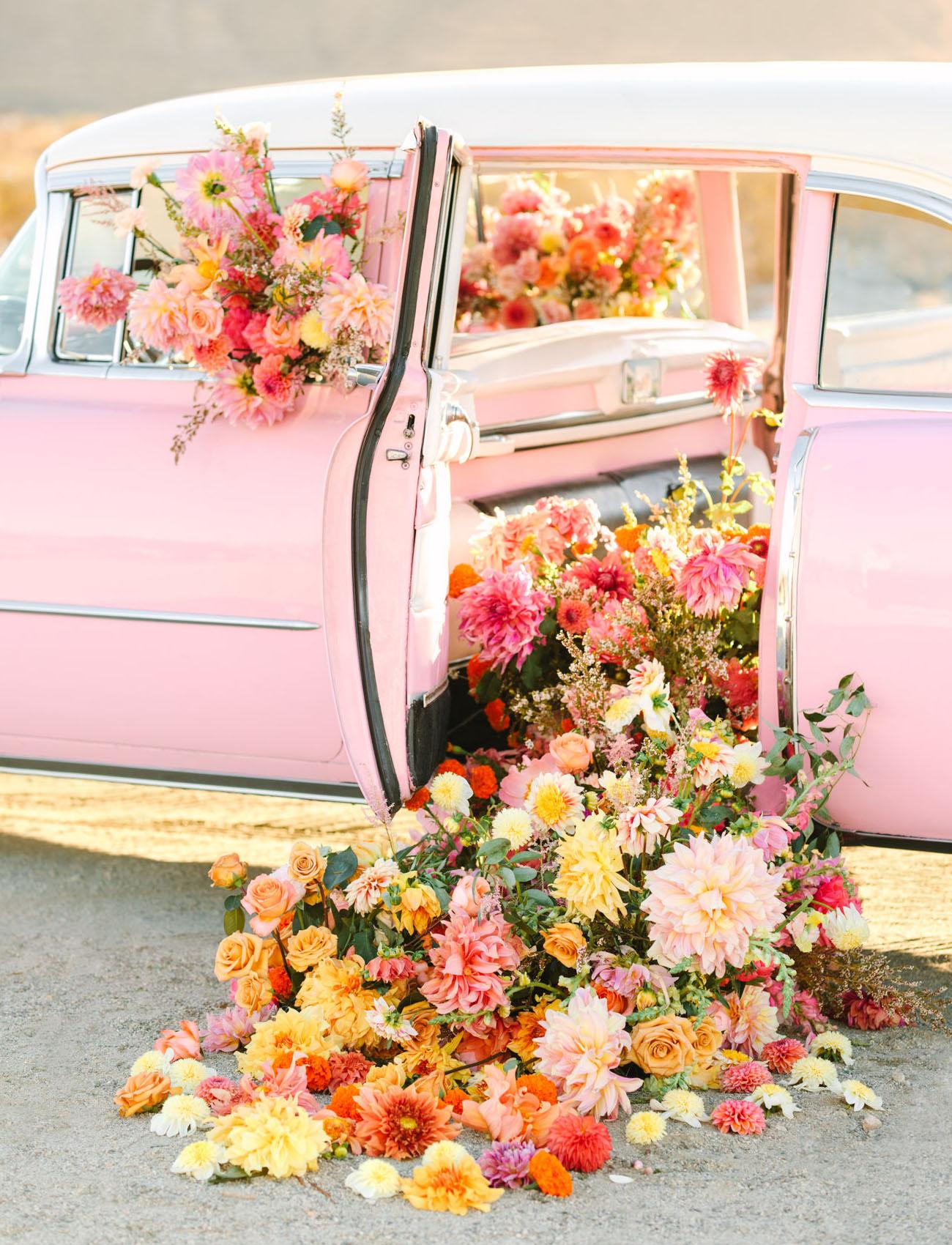 floral filled vintage car