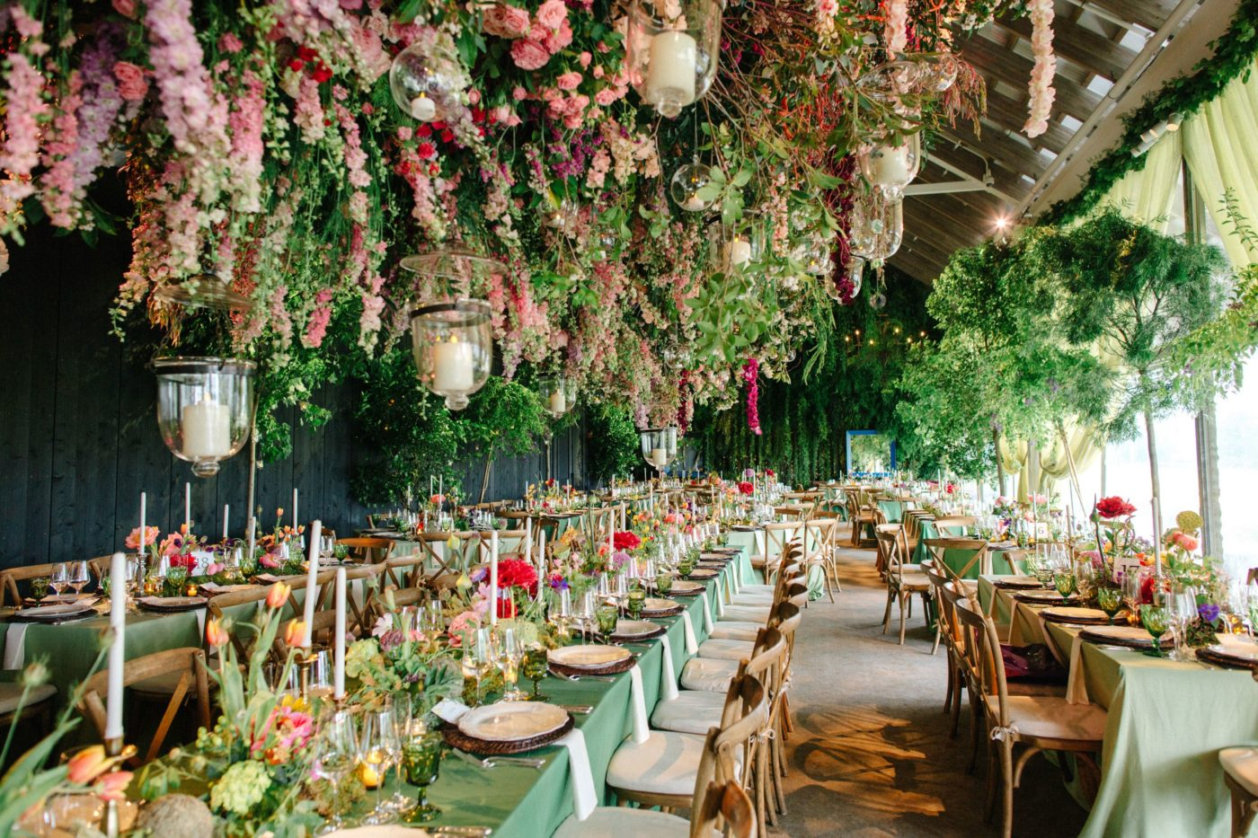 colorful garden reception