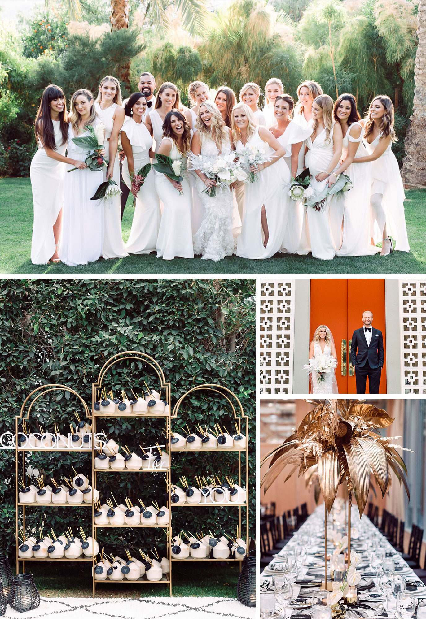 Modern Palm Springs Wedding With Bridesmaids in White