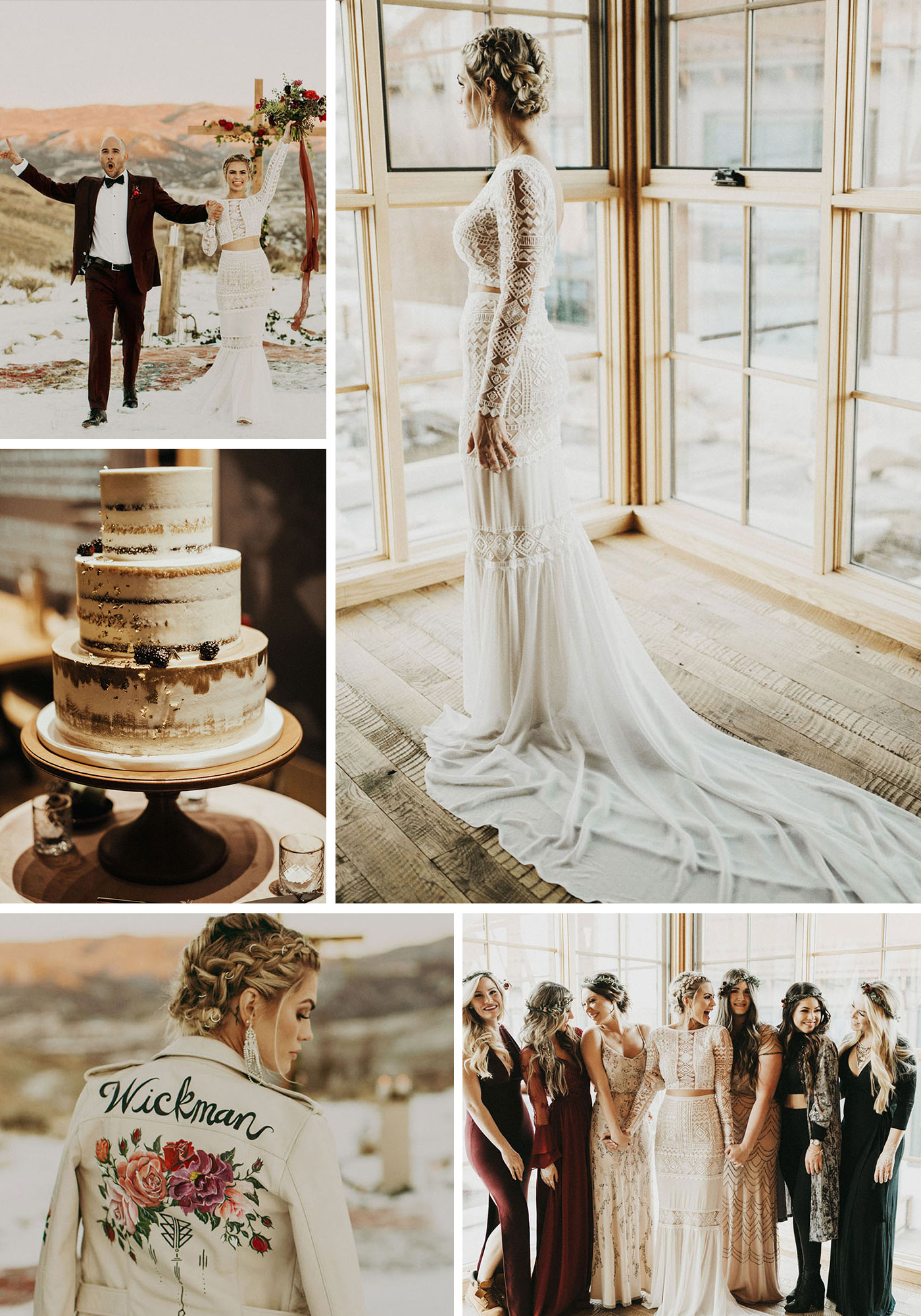 Chic and Moody Wedding on a Snowy Mountaintop