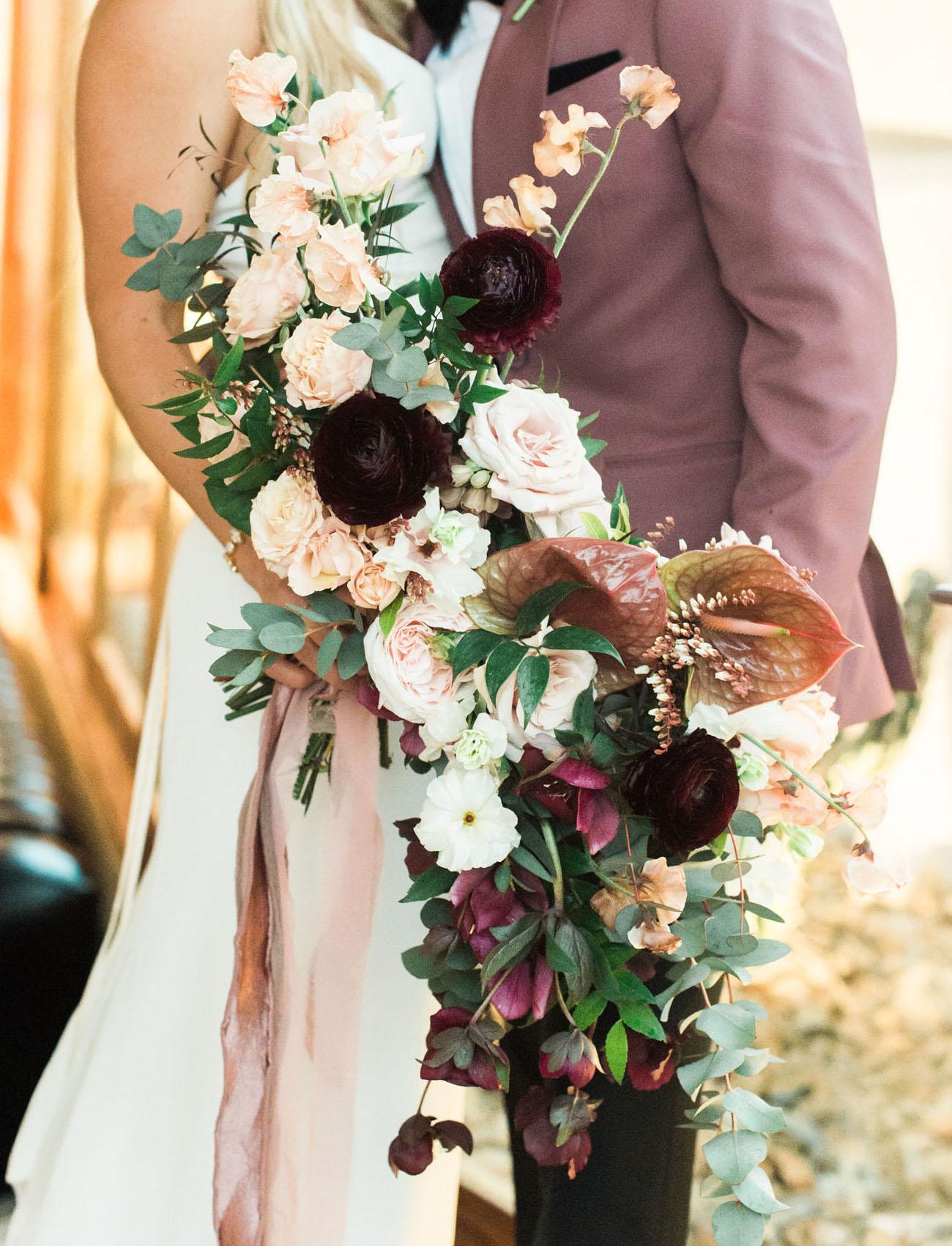 blush and dark bouquet