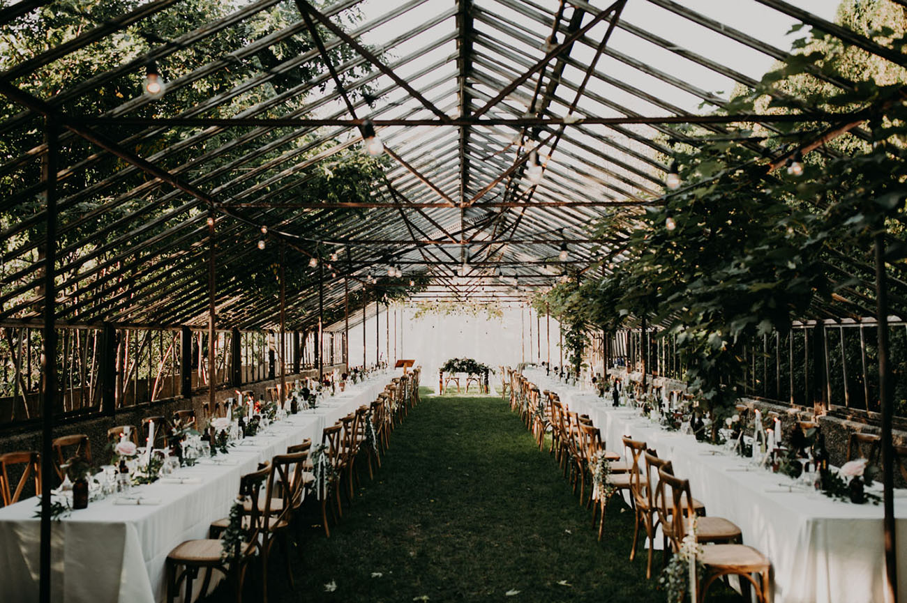 dreamy dining scene in a greenhouse