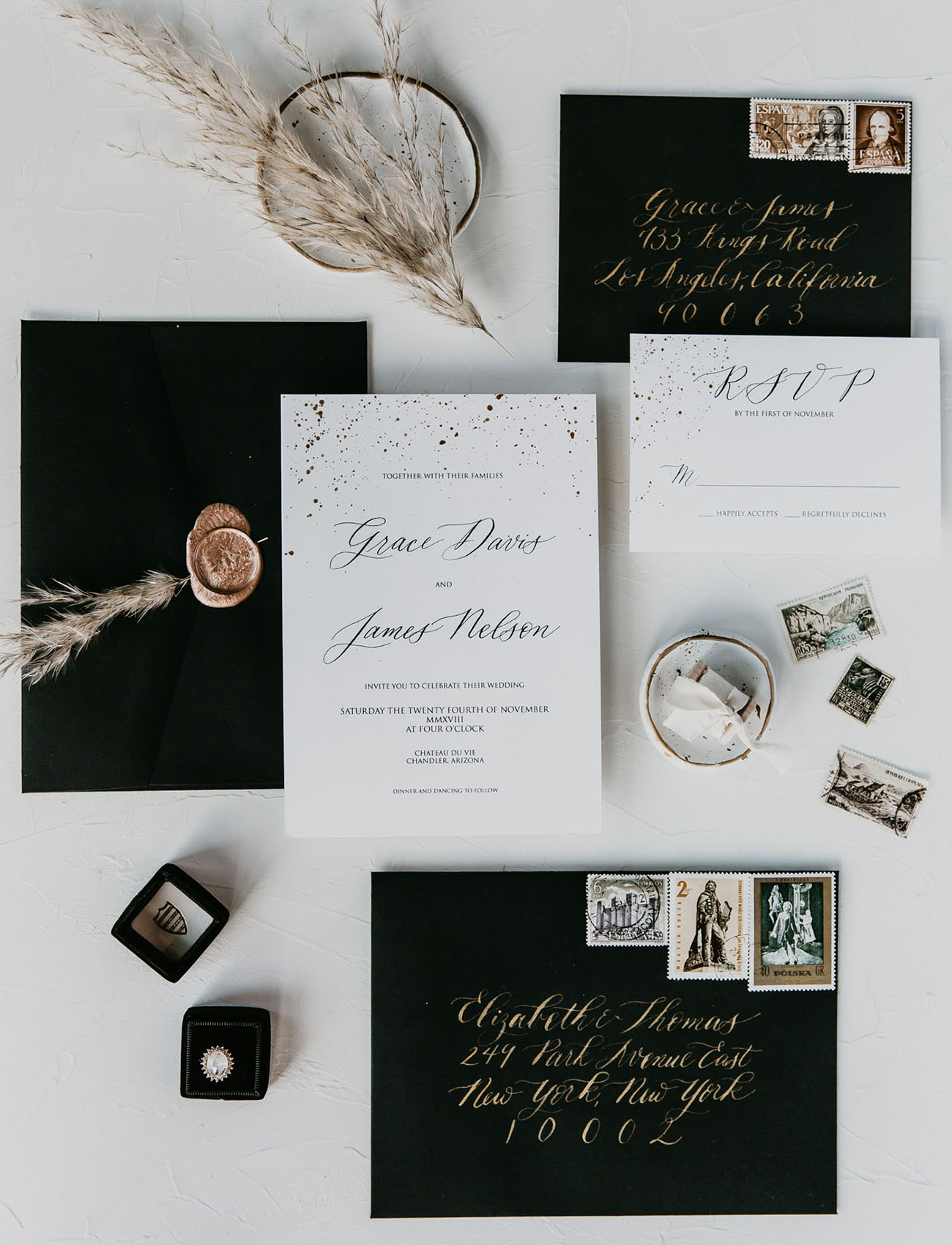 modern white invitation