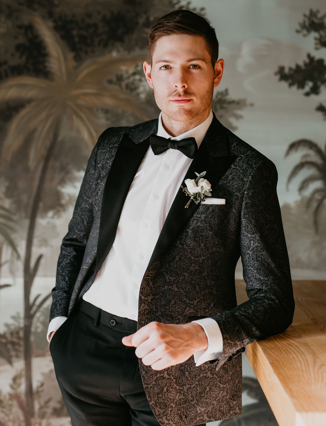 black brocade suit