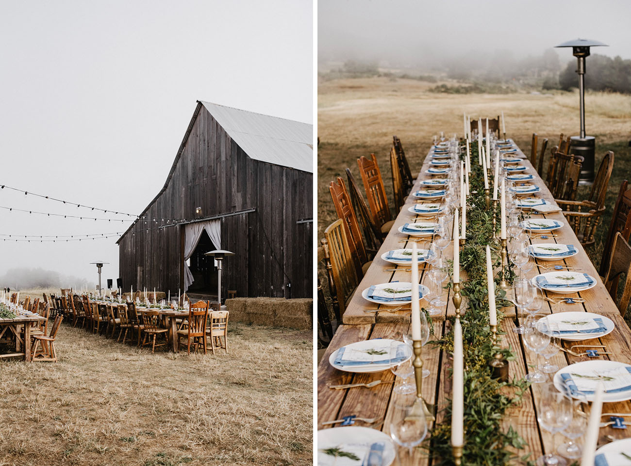 cozy foggy barn reception
