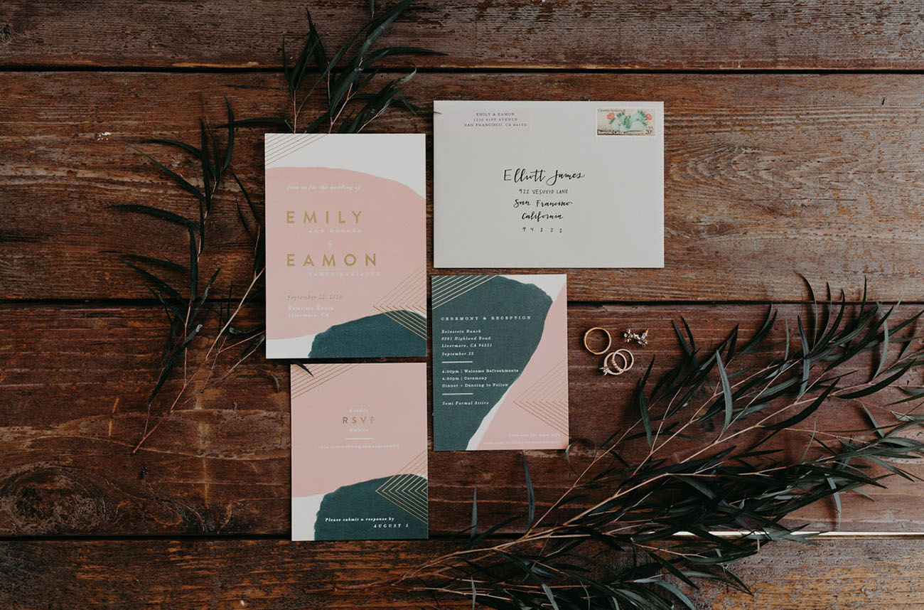 modern pink and green invitation