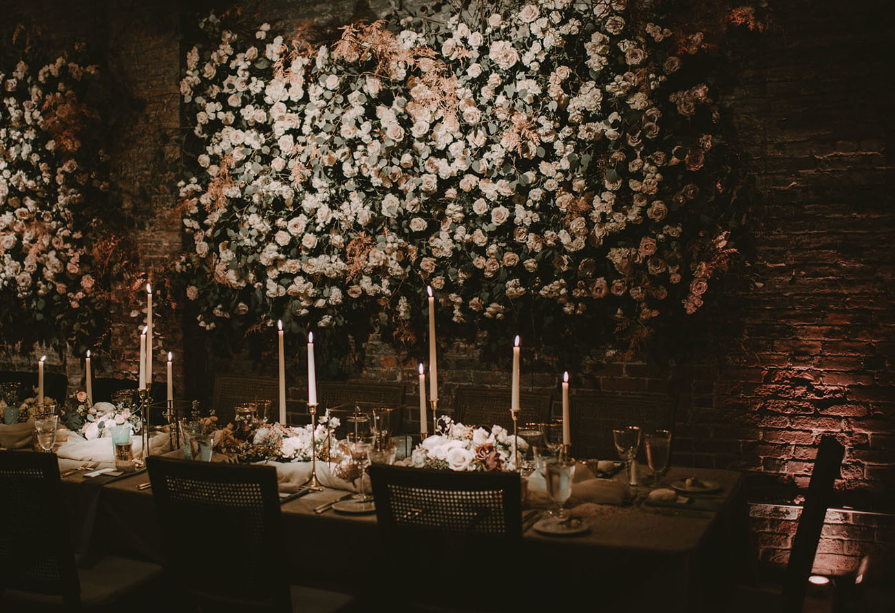 living rose wall reception
