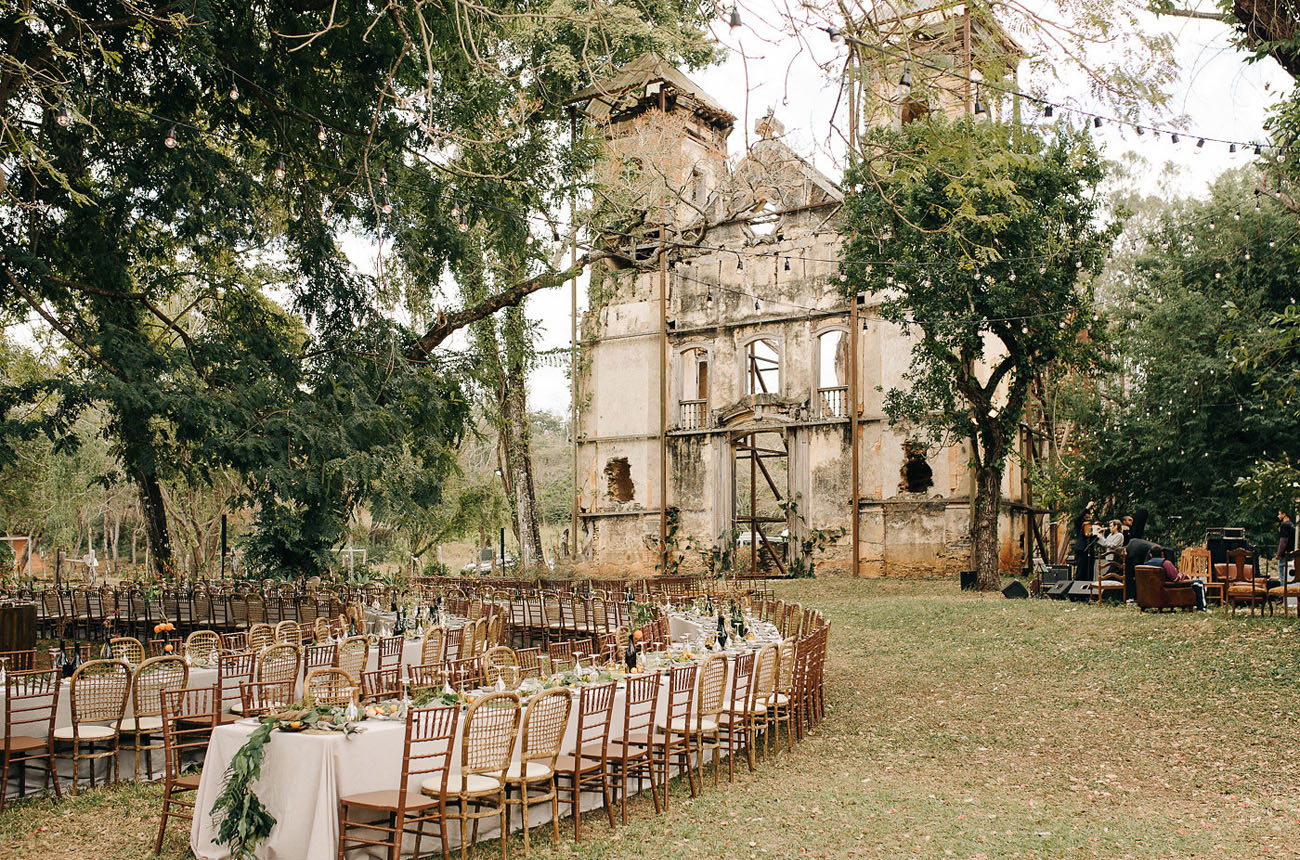 reception among historic ruins in Brazil
