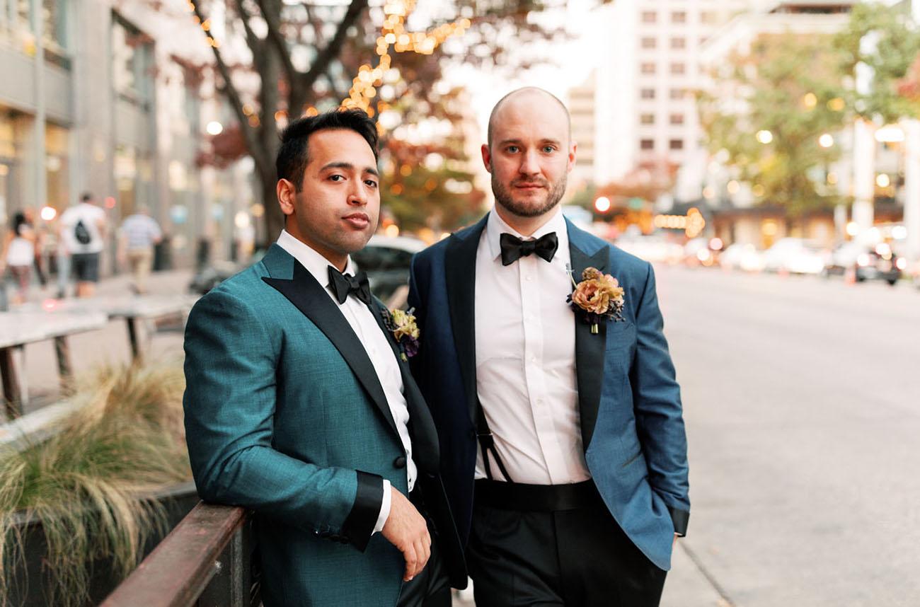 blue suit grooms