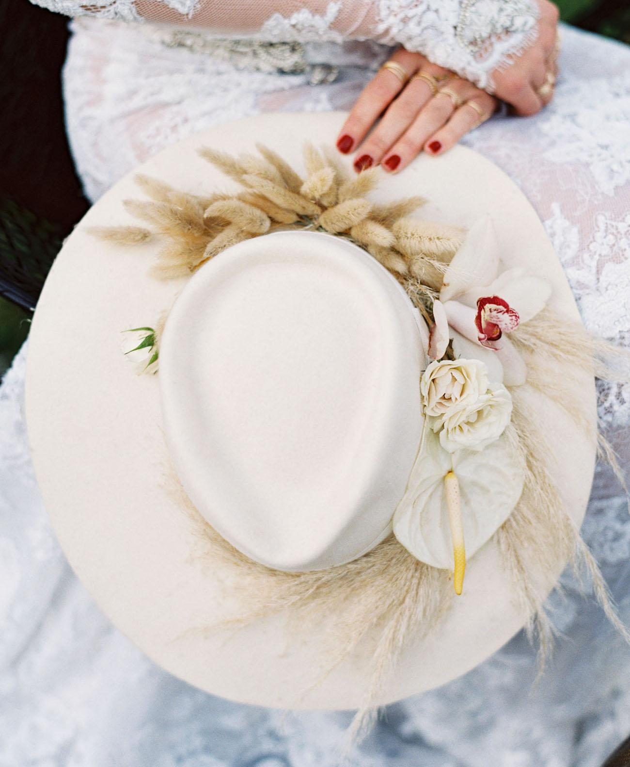 boho bridal hat