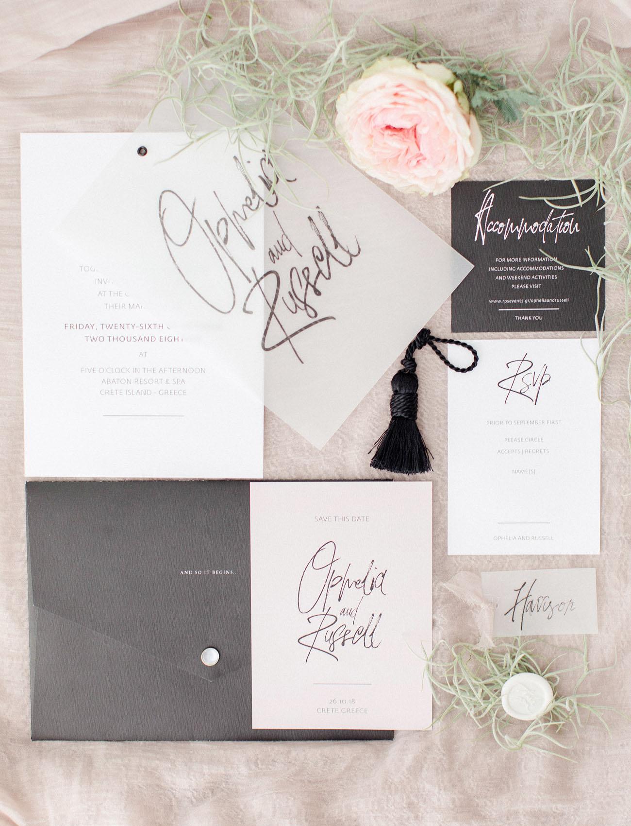 white calligraphy invitation