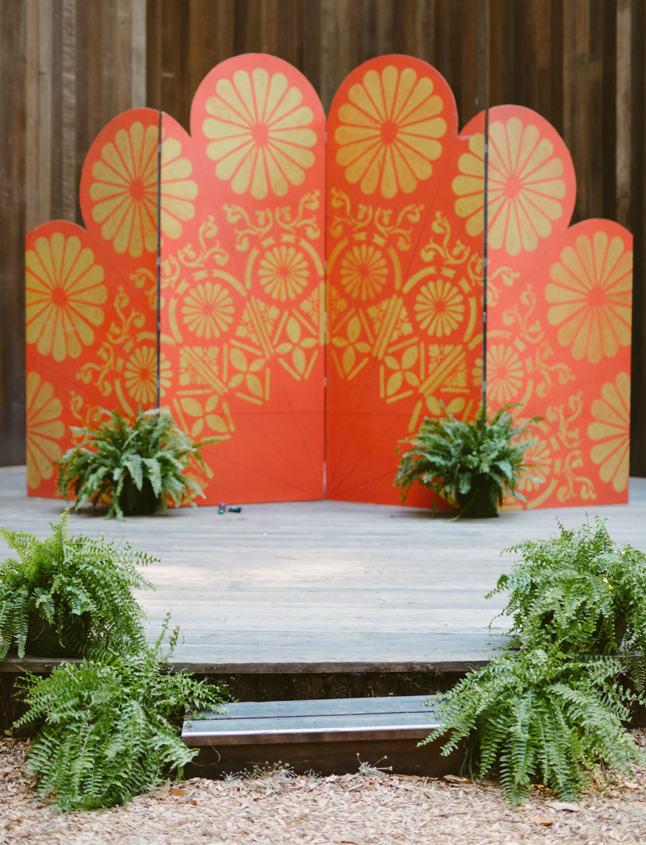 orange ceremony backdrop
