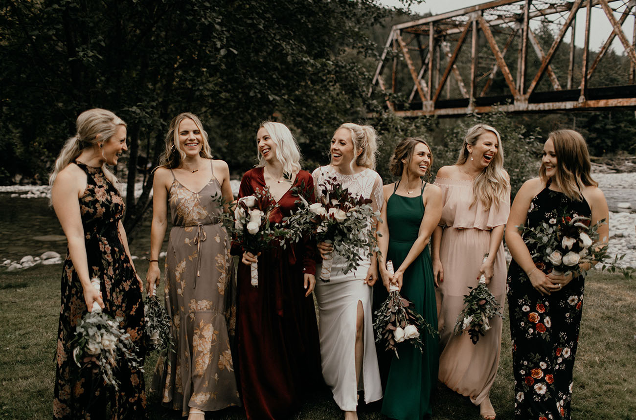 Fall mis matched bridesmaids