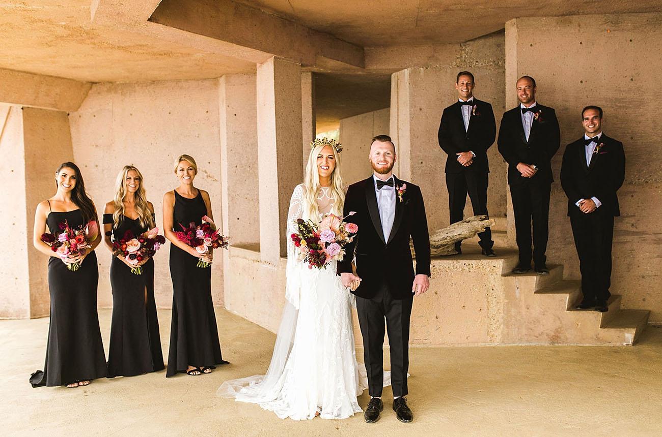 It Was a Black Tie Affair at this Moody + Modern Malibu Wedding?with Boho Twists!