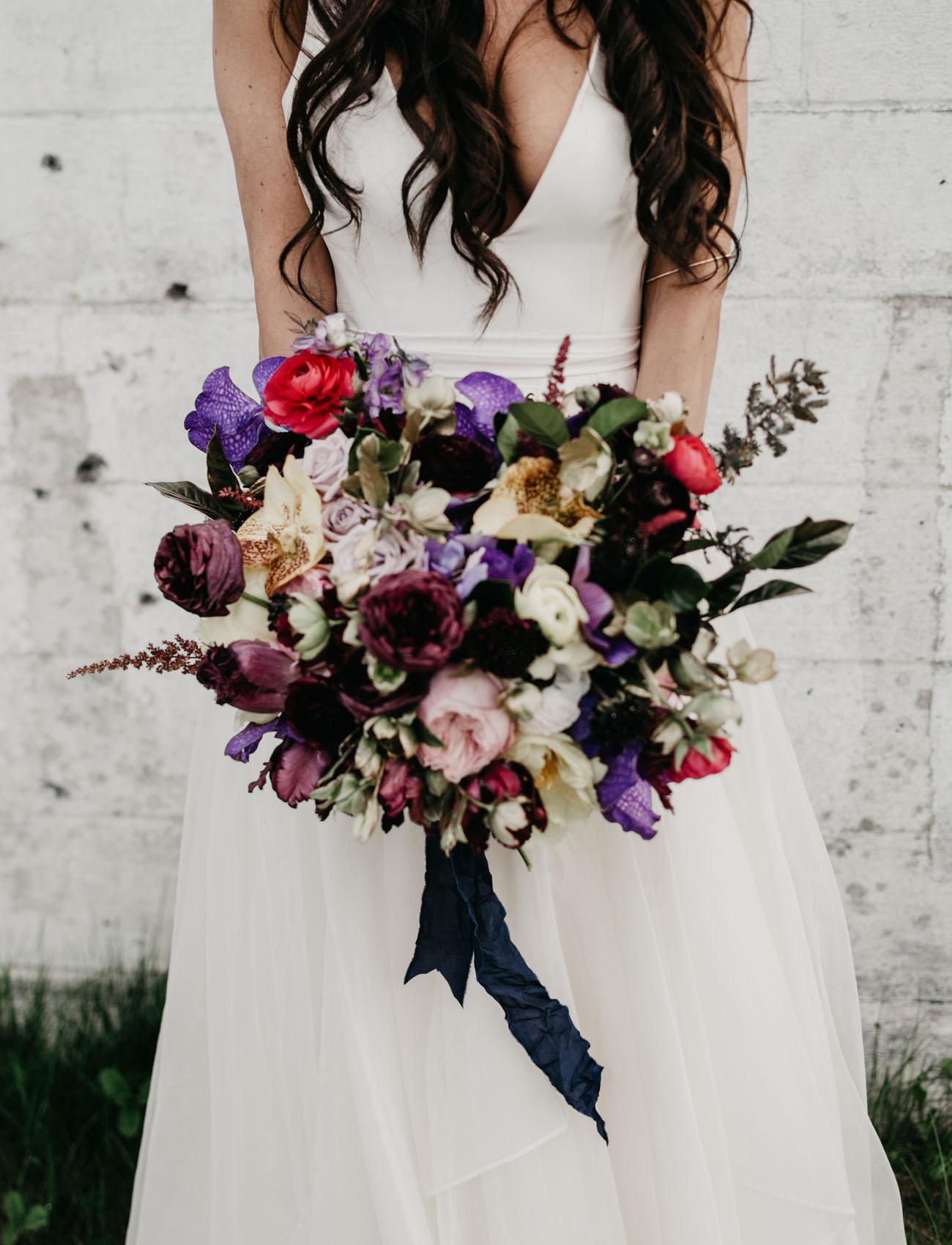 deep purple wedding bouquet