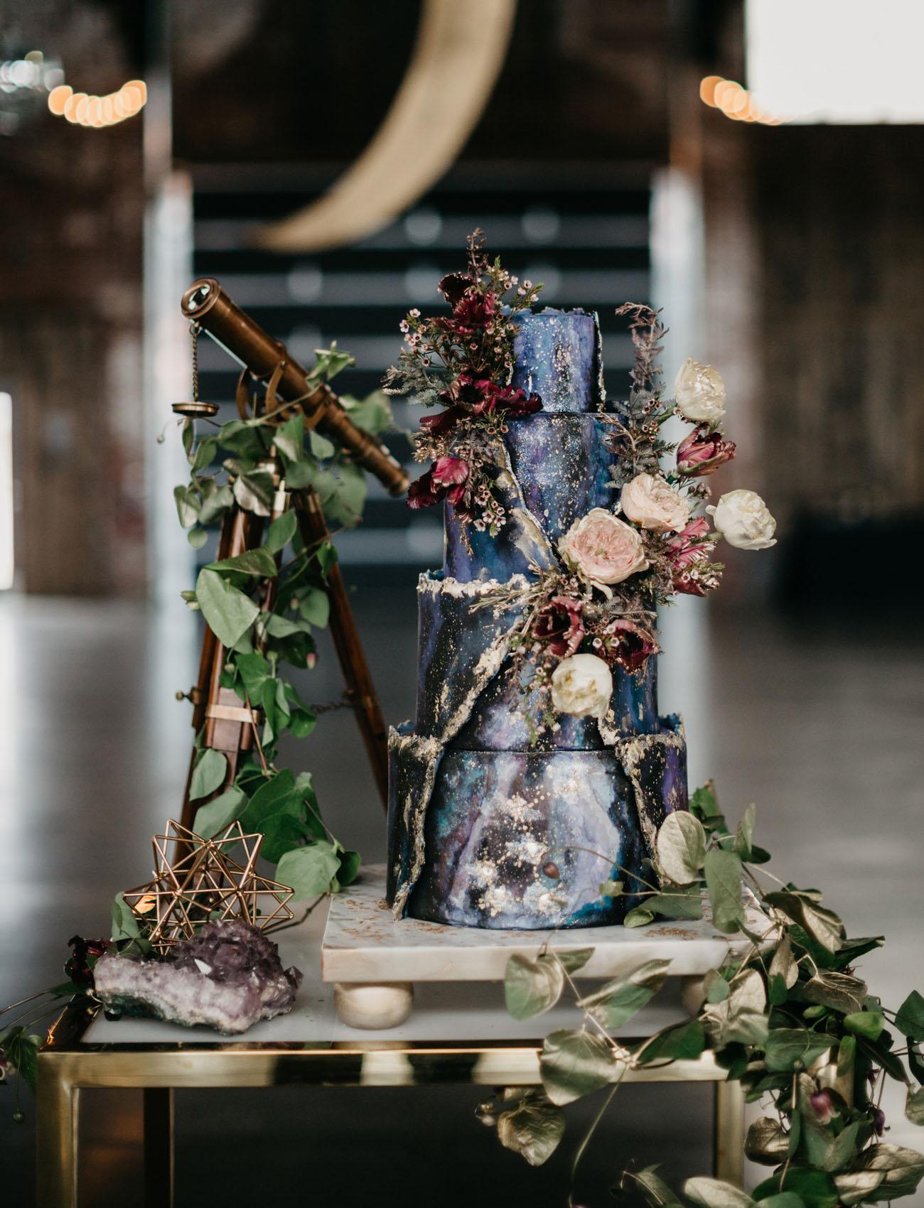 galaxy blue wedding cake
