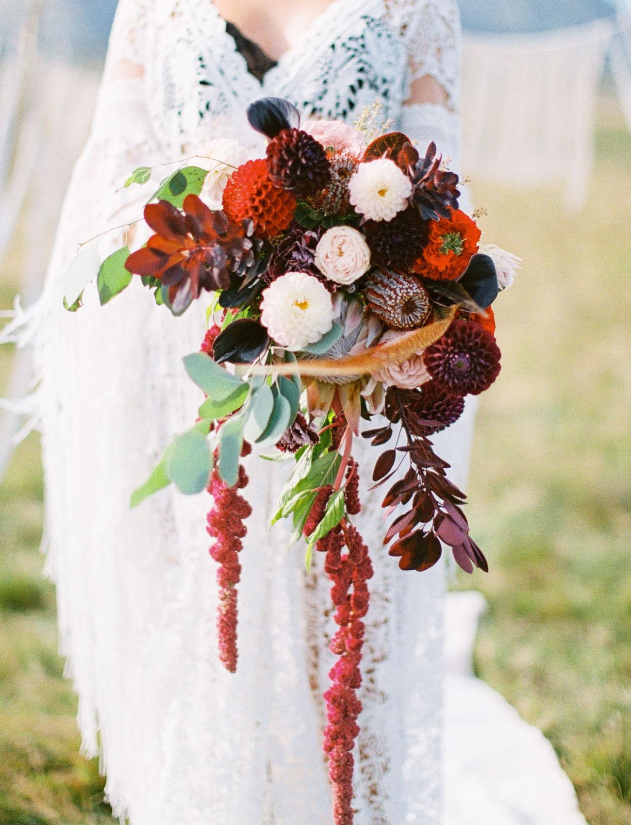 red amaranthus bouquet