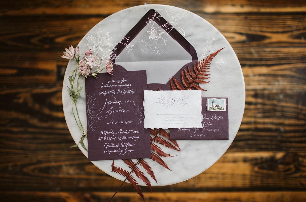 wine colored wedding invitations