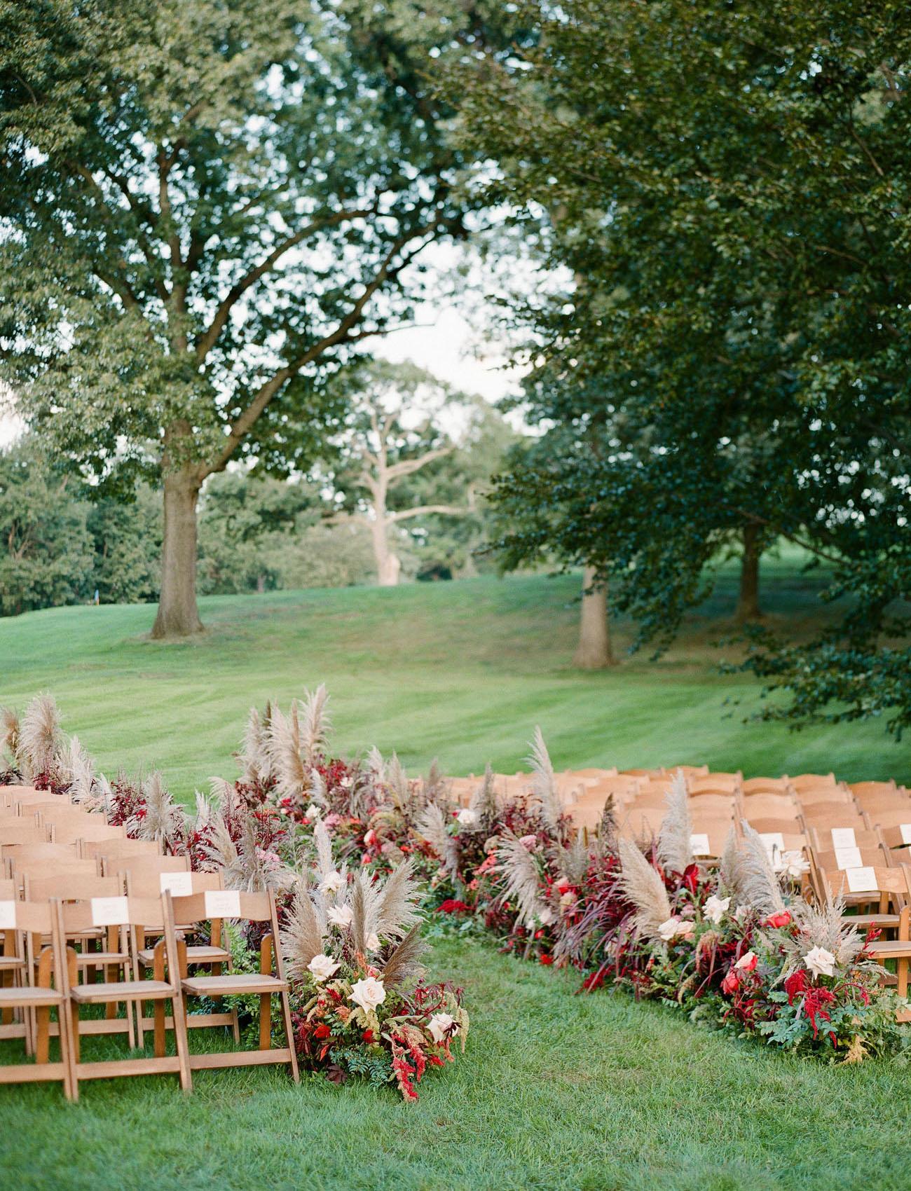floral ceremony aisle