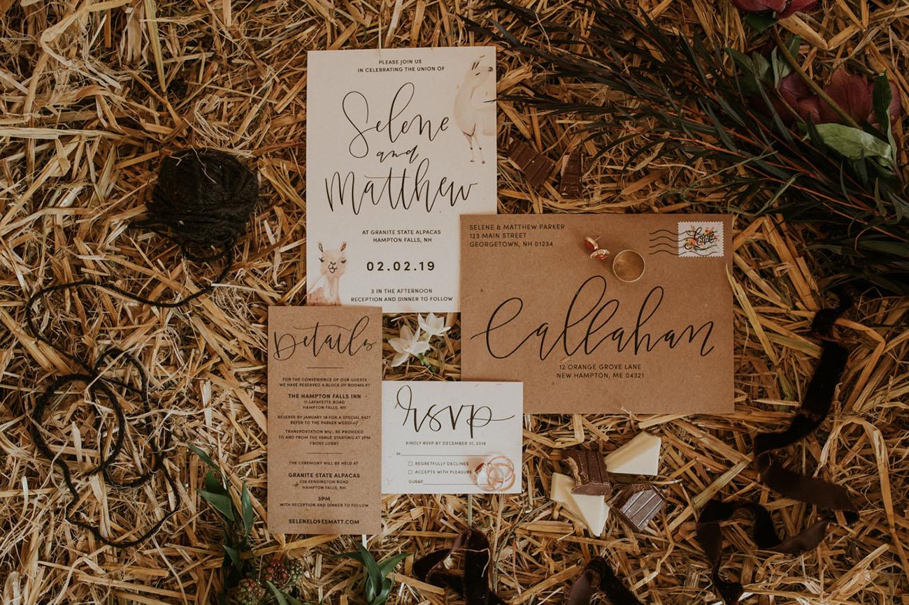 brown calligraphy invitation