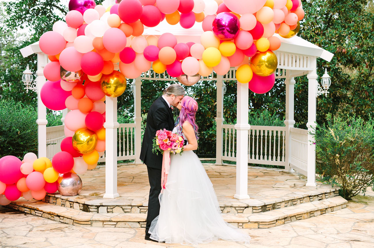 Colorful Backyard Balloon Wedding