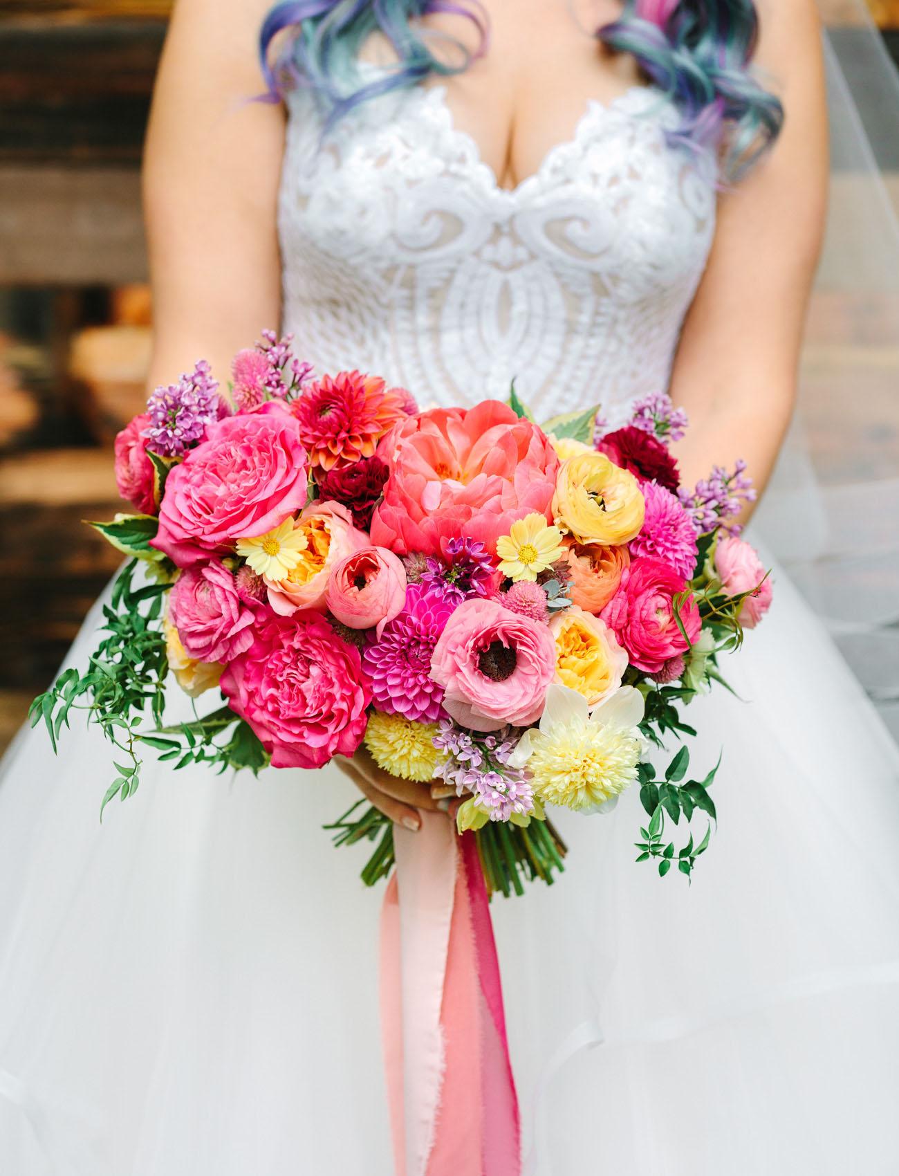 bright pink ranunculus bouquet