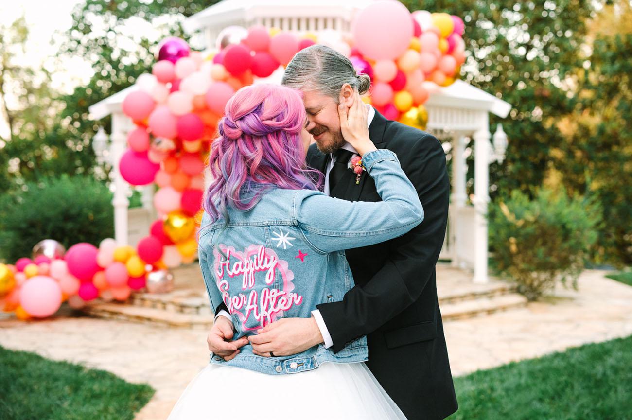 Colorful Backyard Balloon Wedding