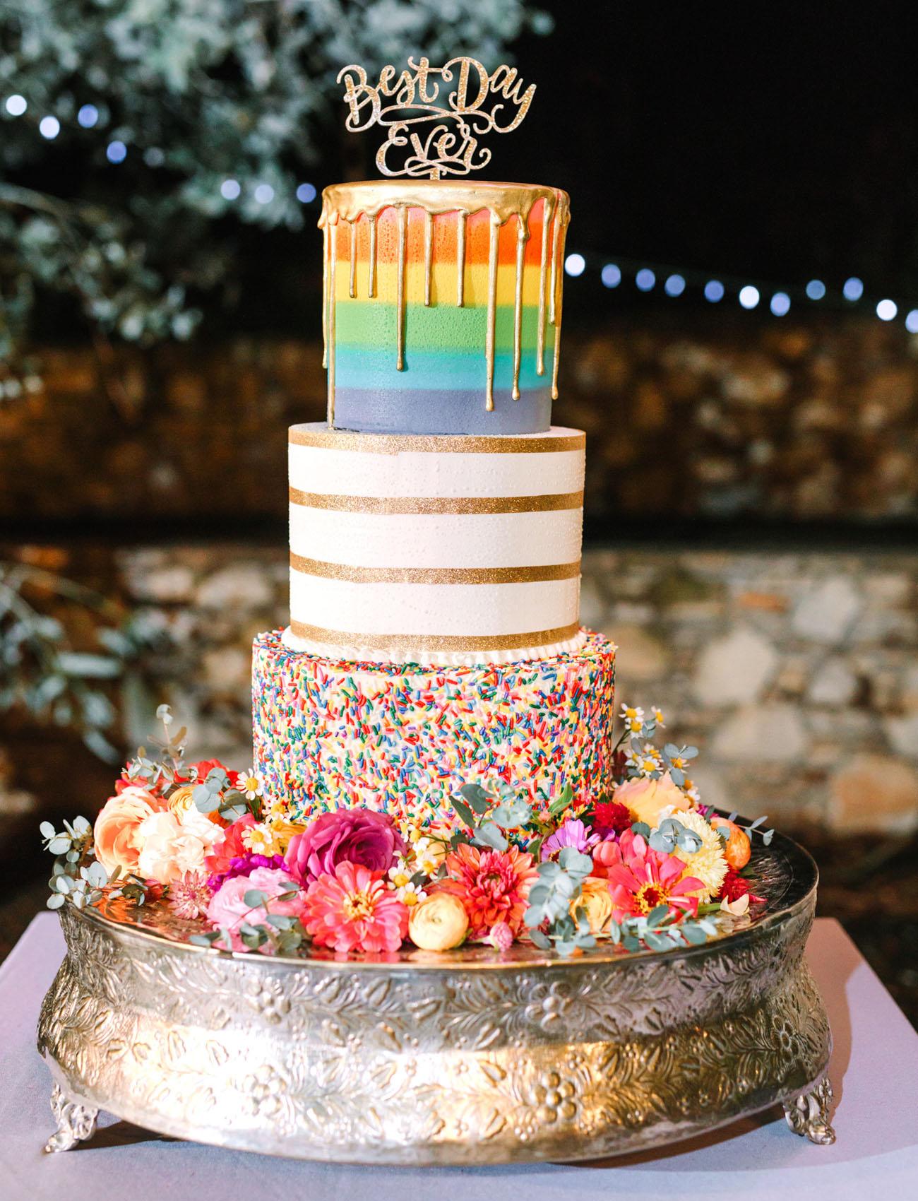wild rainbow wedding cake