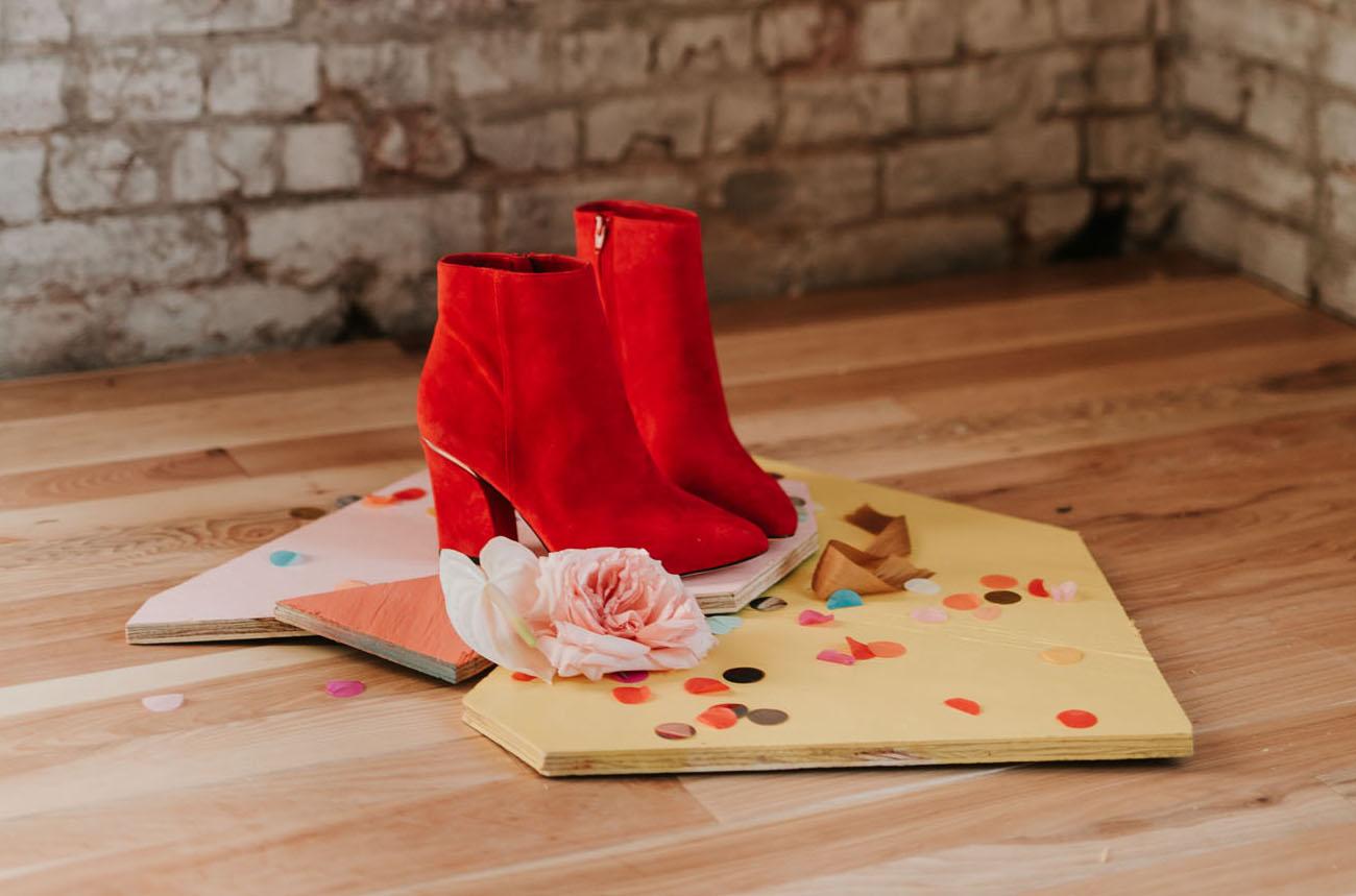 red heel booties