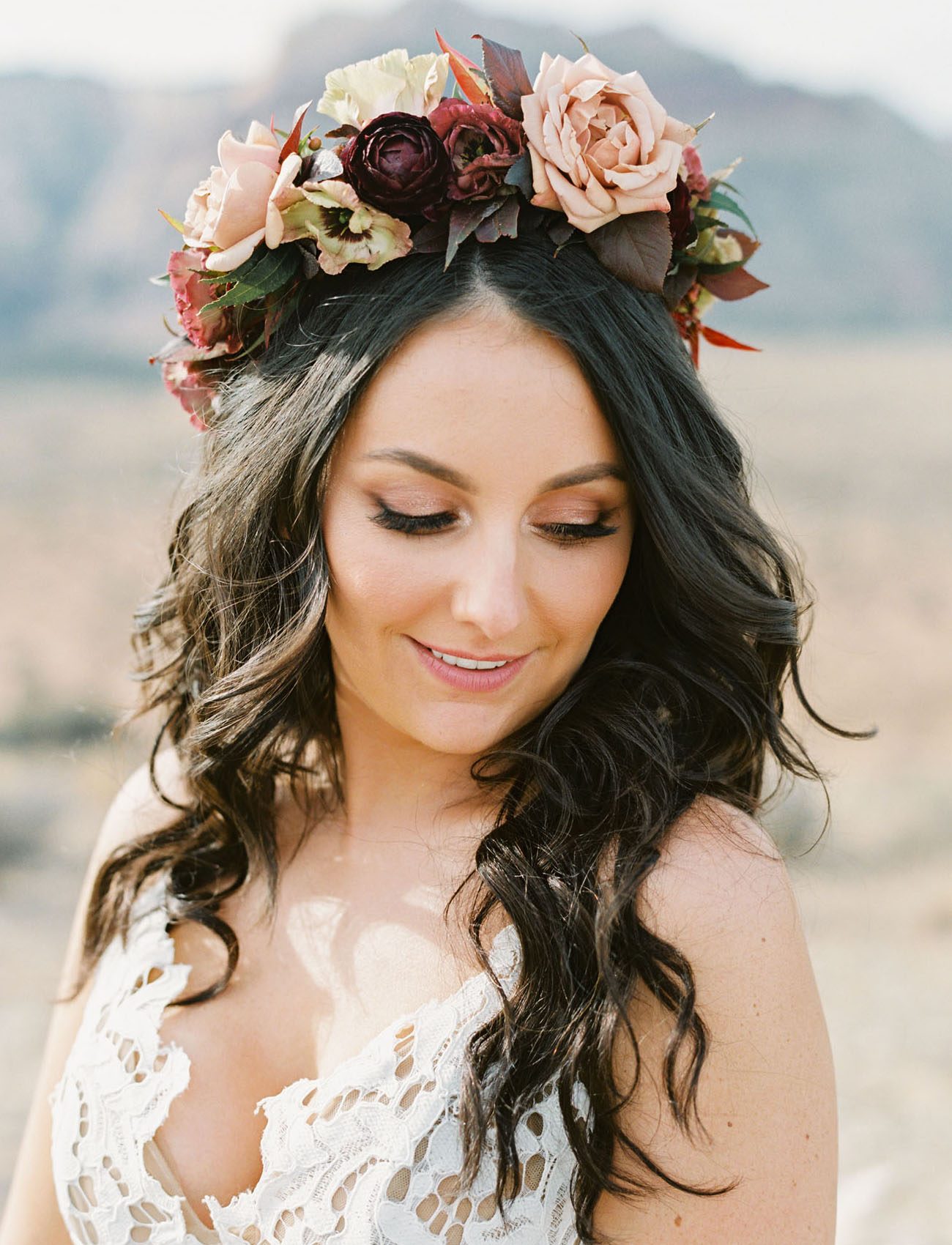 pink and red floral crown