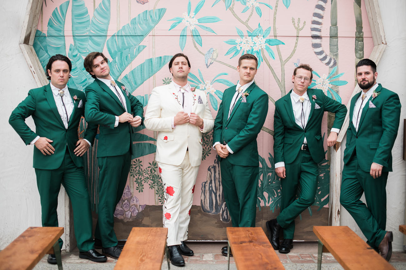 green groomsmen suits