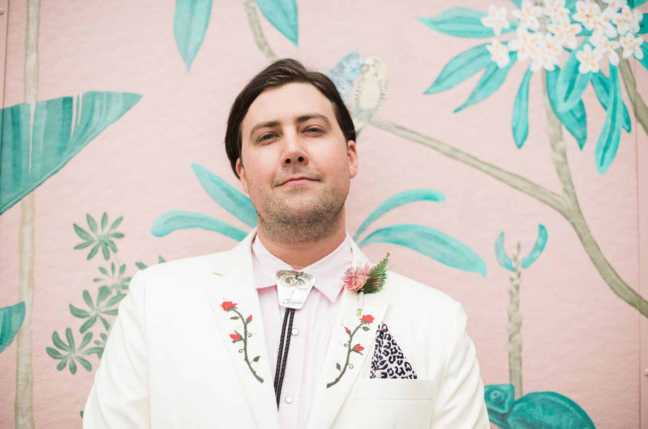 floral embroidered groom suit