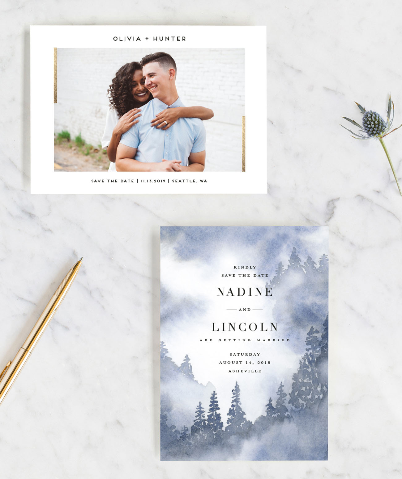 Mistry Trees Save the Date on Minted