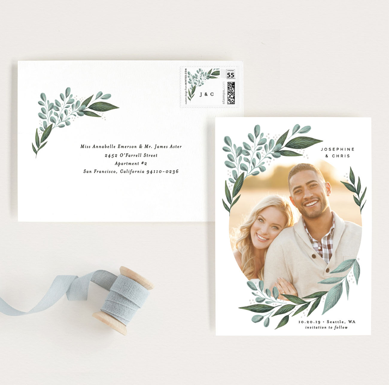Wild Leaf Save the Dates on Minted