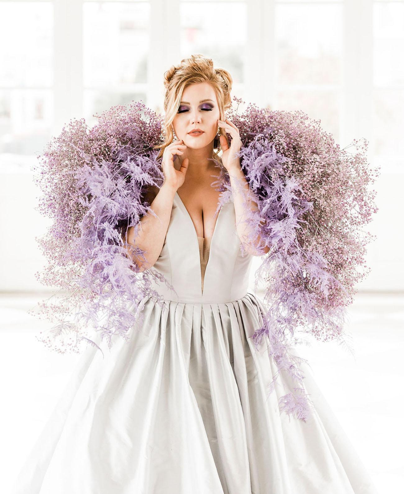 purple floral wrap