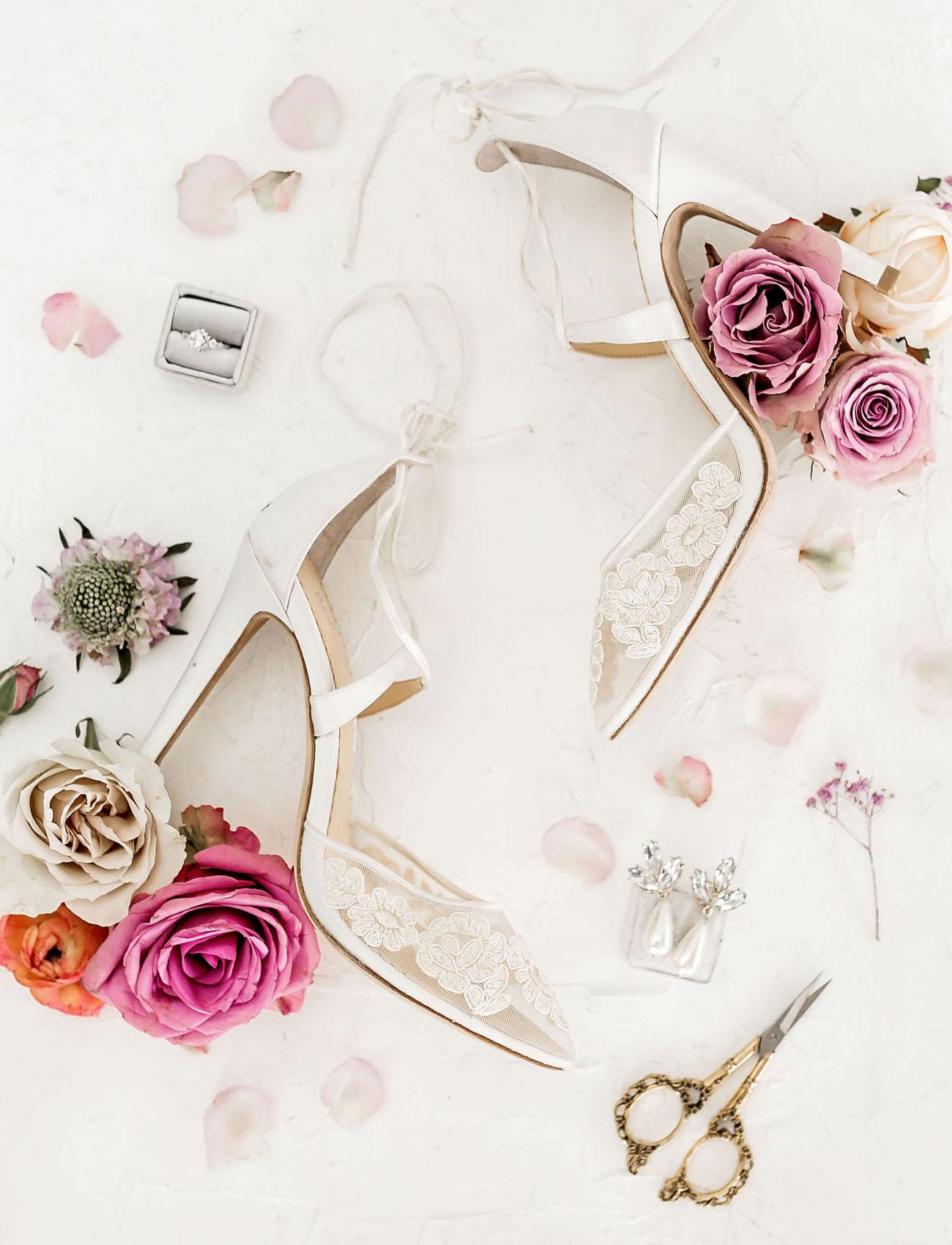 white floral heels