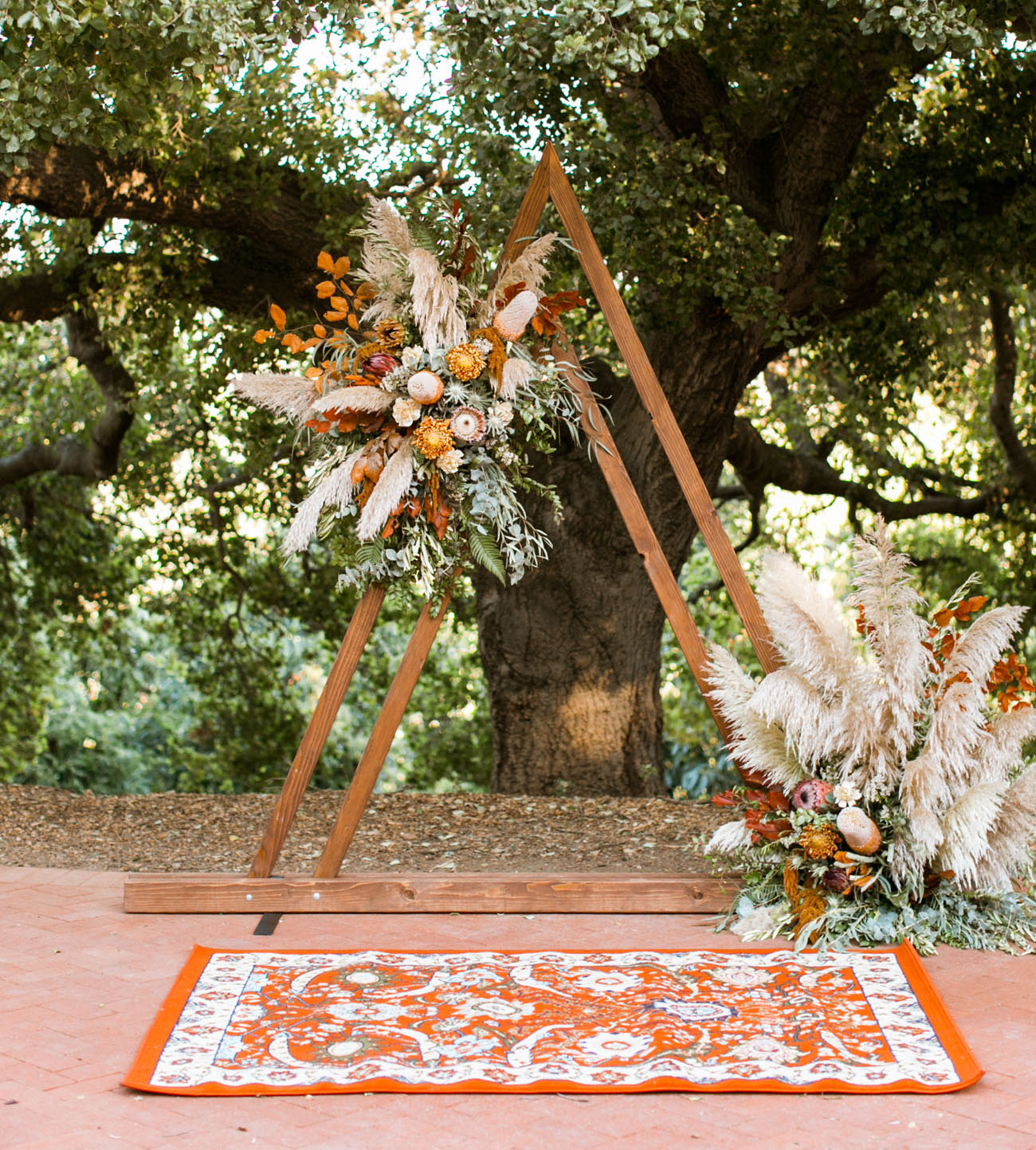 triangle boho floral arch