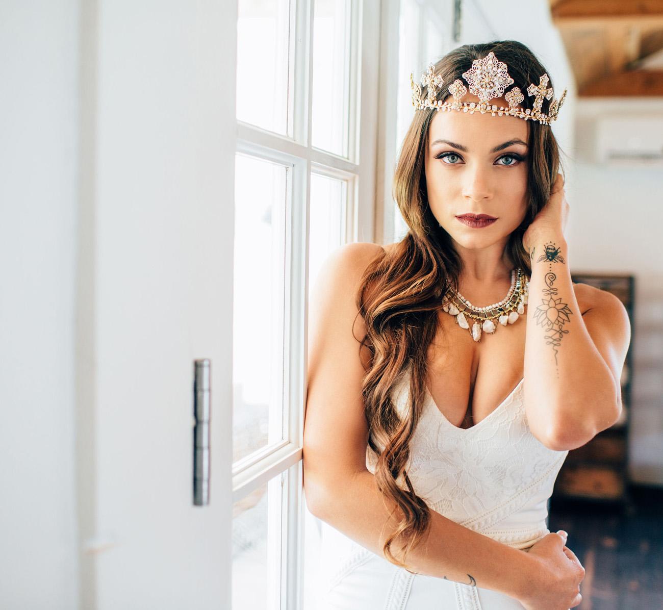 Wyatt Wedding Dress with Crown