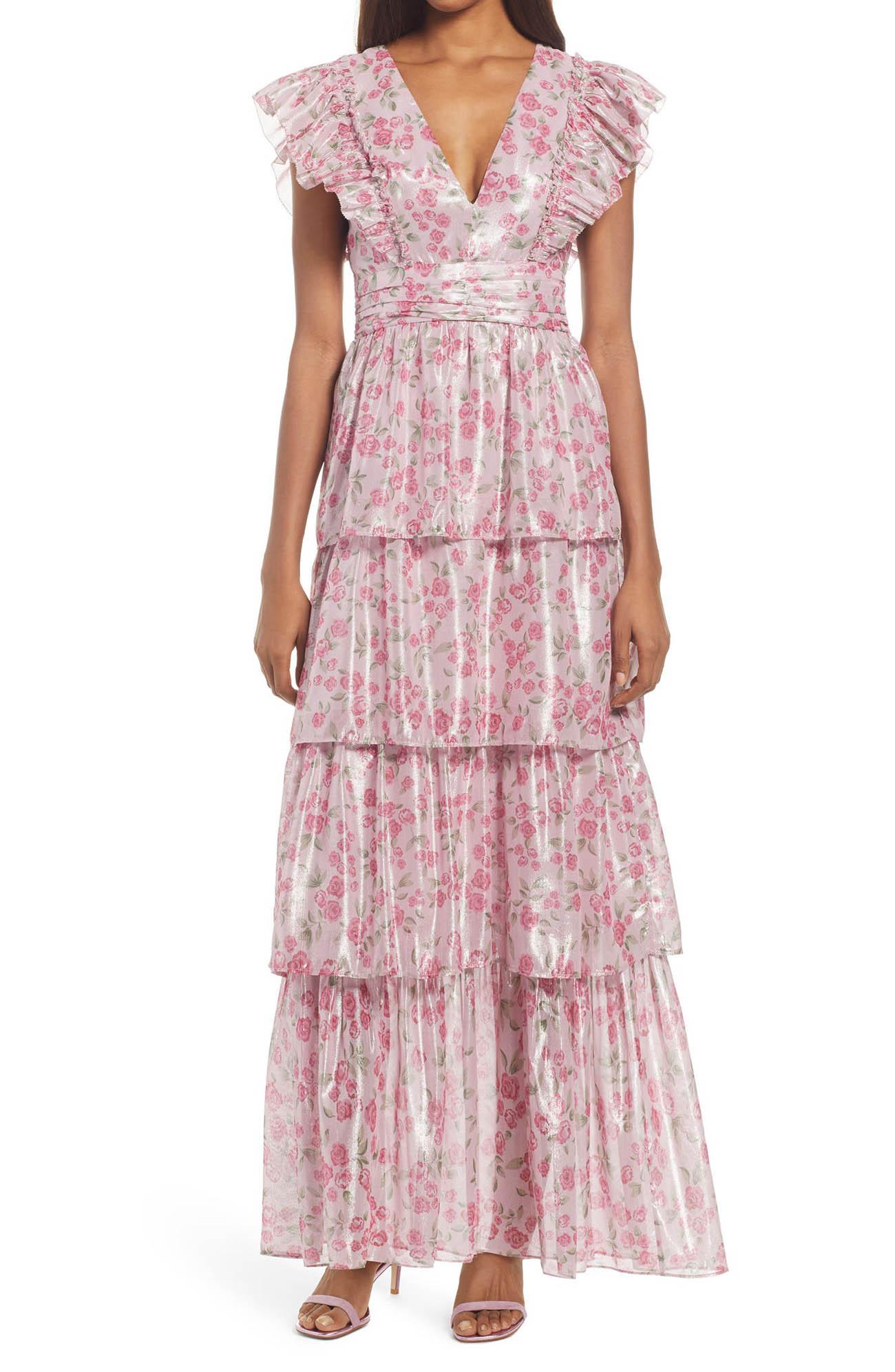 pink floral spring guest wedding dress
