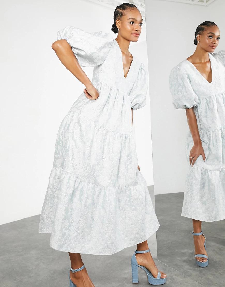 pale blue Asos spring wedding guest dress
