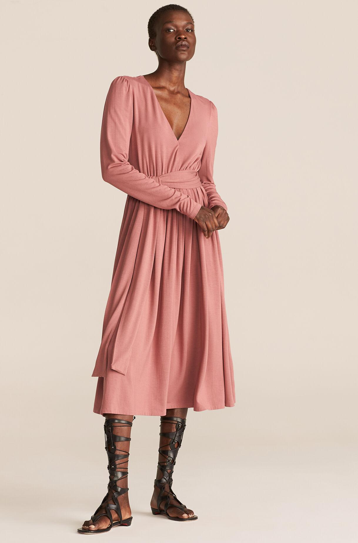 pink v-neck modal dress for spring wedding