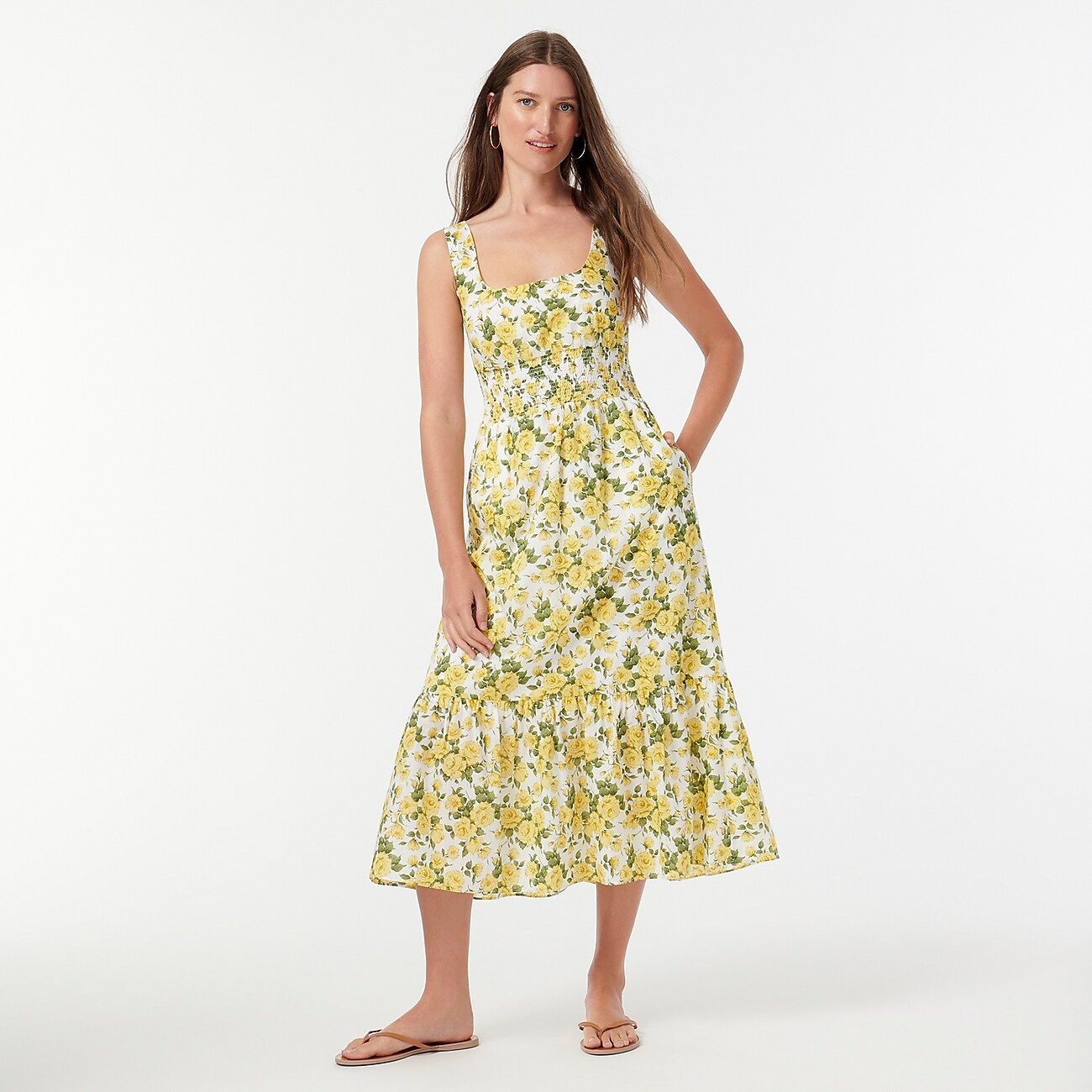 yellow and green spring wedding guest dress from J.Crew
