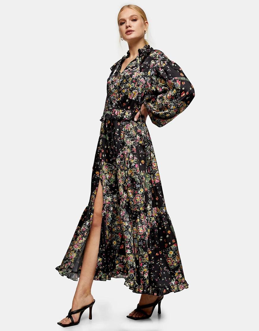 black maxi dress for a spring wedding